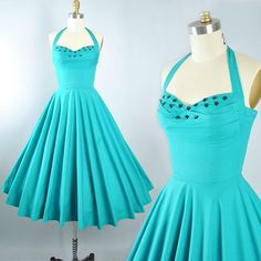 Vintage 50s Dress / 1950s Cotton Sundress Elaine Terry TEAL