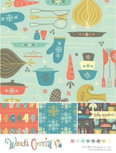 What's Cookin' surface pattern by Kelly Angelovic, via Behance