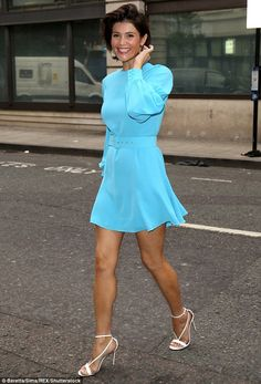 Retro: Gemma Arterton looked every inch the Hollywood A-lister as she arrived at the BBC Radio 2 studios in central London to promote her latest project on Friday morning Gemma Arterton, Gemma Christina Arterton, Fashion Models, Belle Hairstyle, Bouffant Hair, Turquoise Dress, Beautiful Celebrities, Beautiful Women, Bikini Models