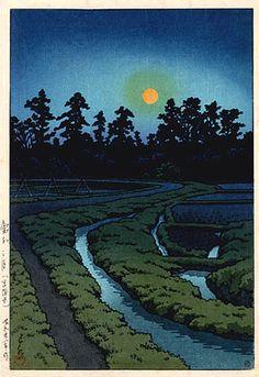 hanga gallery . . . torii gallery: Moon at Ayashi by Kawase Hasui