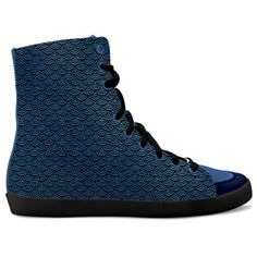 Blue fish. Inspired by the Magic Island of Gotland, designed by Åsa Stenström, magicisland.se  idxshoes.com - Hidden Wedge Hi-Tops