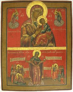 Two-Part Icon - Mother of God of Passion (upper), Mother of God of the Joy to All Who Sorrow (lower), Russian, ca 1800-1830