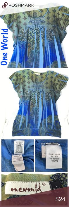 """One World Top Sublimation Blue Green Bling L One World Womens Top / Blouse / Shirt Size Large Batwing / Dolman sleeve Boho / Bohemian / Chic Bling rhinestones under neckline Multicolor (Blue Green Brown Aqua) Sublimation print Stretch (Polyester 100%) Great pre-owned condition. No holes, stain or rips  Measurements are approximate and taken on a flat surface:  18"""" Wide (underarm to underarm) 23-1/2"""" Long  Thank you for stopping by. Please MAKE an OFFER or visit my Posh Closet to BUNDLE and…"""