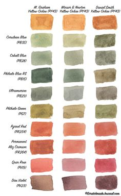 Free printable! Yellow Ochre mixing chart comparing M Graham, Daniel Smith, and Winsor & Newton yellow ochre watercolors - scratchmadejournal.com