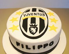 Bake My Day Celebration Cakes Festkager | Lifestyle Juventus Footbal Club, Soccer, Round cake with logo made of fondant
