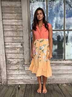 Romantic/Tattered/Rustic/Boho/Gypsy Dress upper part is made with cotton lower part is made with cotton and has added pocket along front and tie along back Size-large xlarge chest-42 hips-56 length-41