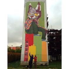 Mano @thiagogoms321 no Parque do Gato, Projeto @revivarte suporte @paredeviva. Amanhã é minha vez!!!