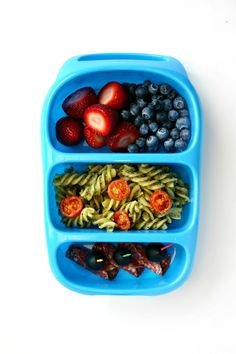 Strawberries and Blueberries~ Pasta Salad~Salami and Olives