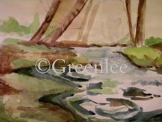 Shady Creek, watercolor on paper