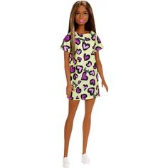 Barbie doll AA wearing yellow print dress w hearts NEW #Mattel #Dolls
