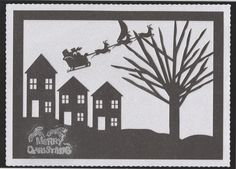 Silhouette Art - Christmas Night Scene- Studio/cameo by Susan Cummings: The image has been cut out using matt black glitter card. This was…