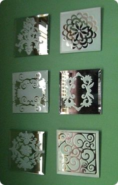 Spray mirror tiles with frosted glass spray available at craft stores using stencils Craft and DIY Projects and Tutorials Diy Wand, Do It Yourself Furniture, Do It Yourself Home, Craft Robo, Frosted Glass Paint, Mirror Tiles, Glass Mirrors, Diy Mirror, Etched Mirror