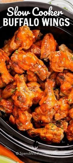 Tender buffalo wings cooked all day in the slow cooker! These are the hit of any party without the fuss and mess of deep fried chicken wings! These easy wings come out perfectly every time wings crockpot Crock Pot Chicken Wings - Spend With Pennies Slow Cooker Huhn, Crock Pot Slow Cooker, Slow Cooker Chicken, Slow Cooker Recipes, Cooking Recipes, Healthy Recipes, Cooking Videos, Slow Cooker Dips, Vegan Slow Cooker