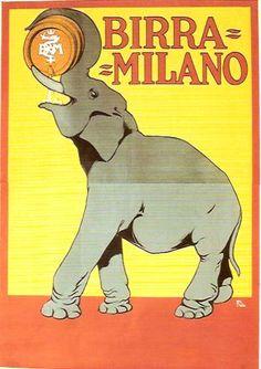 Birra Milano vintage Italian beer advertisement featuring an elephant