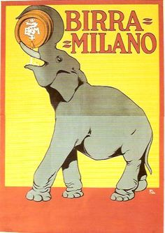 Birra Milano vintage Italian beer advertisement featuring an elephant