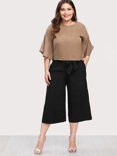 Shop Flounce Sleeve Top & Capris Pants online. SheIn offers Flounce Sleeve Top & Capris Pants & more to fit your fashionable needs.