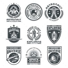 Buy Set of Vector Icons Space. Set of vector icons of space. Elements of design, badges, logo and emblem on a white background. Free Vector Art, Vector Icons, Badges, University Logo, Badge Logo, Vintage Logo Design, Badge Design, Elements Of Design, Pictogram