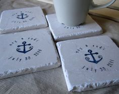 wedding favor nautical coasters | pleasureweddingz.compleasureweddingz.com