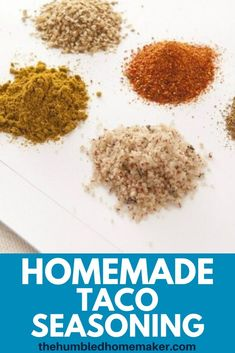 This homemade taco seasoning mix is super easy to make and tastes just as good as the store brands. This seasoning recipe will save you money while helping you keep additives and other preservatives out of your kitchen. Homemade Taco Seasoning Mix, Seasoning Recipe, Homemade Tacos, Seasoning Mixes, Homemade Food, Real Food Recipes, Great Recipes, Easy Weekday Meals, How To Read A Recipe