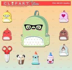 Backpack kawaii Clipart Bag Digital graphics por clipartcutieshop