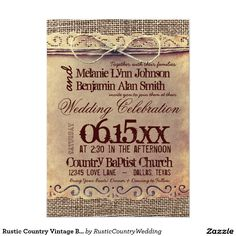 Rustic Country Vintage Burlap Wedding Invitations #wedding