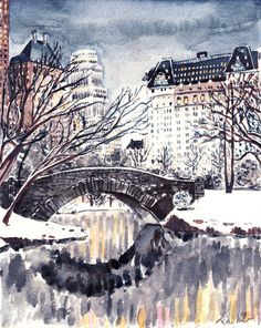Central Park at Twilight Winter Scene NYC - Original Watercolor 8 x 10 - New York Travel Photography Plaza Hotel Architecture Bridge