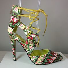 Yellow lace-up pointy-toe heel with tribal print #cutesyoriginals