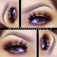 Yellow and brown eyeshadow soft eyebrows