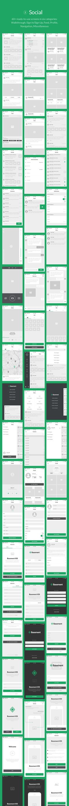 Basement iOS Wireframe Kit - 110+ App Screens for Sketch