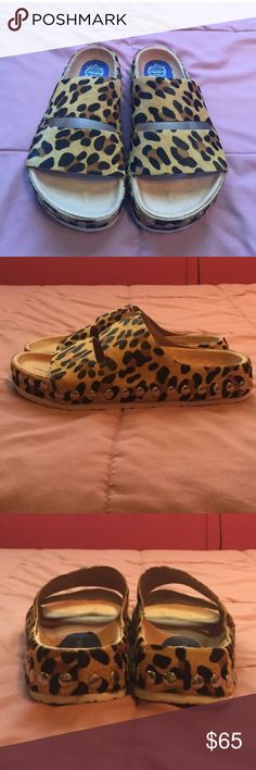 NWOT Jeffrey Campbell Havana Leopard Slide size 9 Soooo sad these don't fit me! I am a true 9 and these fit better for an 8.5. Brand new, never been worn with no tags. Pony hair details so cute! If you have a 9.5 and would like to trade, please let me know! Otherwise, my loss is your gain. 😓 Jeffrey Campbell Shoes