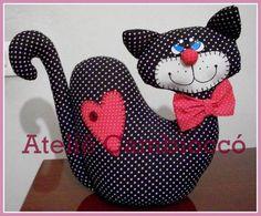 Peso de Porta Gato Coração gato, doll, puppet, en tela, fabric toy, cat cat, kitty