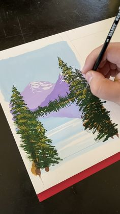 Gouache painting a mountain landscape - Art Drawings Art Drawings, Drawings, Amazing Art Painting, Art Painting Acrylic, Gouache Art, Creative Painting, Painting Crafts, Canvas Art Painting, Creative Art