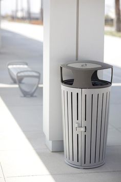 Dispatch Litter & Recycling Receptacle and Trio Bench Parks Furniture, Urban Furniture, How To Clean Furniture, City Furniture, Street Furniture, Furniture Cleaning, Ikea Furniture, Metal Bins, Outdoor Trash Cans