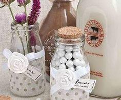 Vintage Milk Bottle Glass Favor Jars
