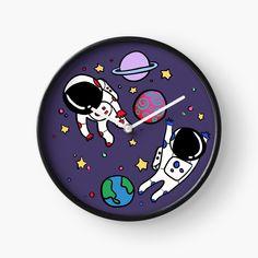 'Little Astronauts' Clock by pixelpixelpixel Quartz Clock Mechanism, Astronaut, Hand Coloring, Clocks, My Arts, Art Prints, Printed, Metal, Awesome