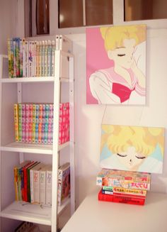 part of my room (4) sailor moon paintings, acrylic on canvas 16 x 12 in / 9.5 x 13.2 in