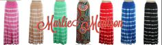 Maxi Skirts Galore! Tons of new maxi skirts in all different colors, patterns and sizes! http://www.marliemadison.com/bottoms/skirts/tye-dye-maxi-skirts