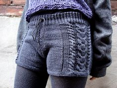 Chiko's Denim Gams - Free Knit Shorts Pattern from Knitty
