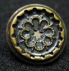 LOT OF 6 - Antique- Vintage Steel Metal Sewing Buttons - star rosette