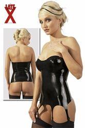 Mooi glanzende zwarte corselet met voorgevormde cups en jarretelles. Gemaakt van soepel latex, strak en zonder rimpels, met goede pasvorm.