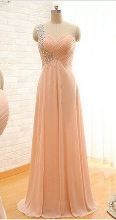 Custom Made One Shoulder Crystal Prom Dress 2016 Arrival Sweetheart One Shoulder A Lone Long Chiffon Crystal Prom Dresses