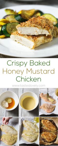 Crispy oven baked honey mustard chicken - chicken breasts smothered in honey mustard sauce, topped with panko bread crumbs, and baked in the oven until golden and crispy. The easiest 30 minute chicken dinner!