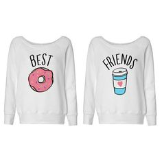 Best Friends Donut and Coffee Duo Wideneck Sweater Shirt for Best... ($28) ❤ liked on Polyvore featuring tops, shirts, sweaters, blusas, sweatshirts, white, women's clothing, white shirt, oversized white shirt and over sized shirts