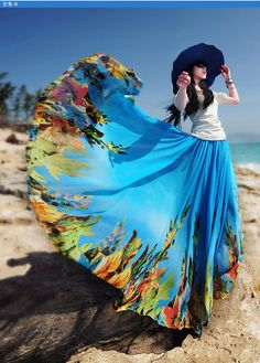 Printing premium chiffon skirt Extra large hem skirt Maxi dress Boho skirt N-208