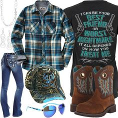 Click Each Item for More Info How You Treat Me Shirt Flannel Plaid Shirt Ariat Fatbaby Boot Miss Me Jeans Camo Cutie Hat Blue Sunglasses Drop Earrings Circle Ne Camo Girl Outfits, Plaid Shirt Outfits, Cute Casual Outfits, Western Outfits, Country Style Outfits, Country Girl Style, Country Life, Fatbaby Boots, Black Plaid Shirt