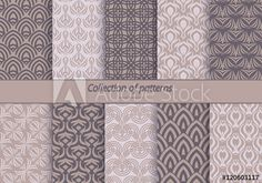 Set of backgrounds with stylized floral pattern. Seamless vintage wallpaper. The backdrop for invitations, greeting cards, banners. Vector illustration.