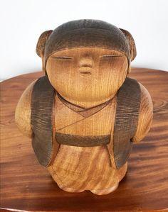 Kokeshi Doll Vintage Ochame by Takashi Yoshida Wooden Statues, Wooden Art, Asian Doll, Kokeshi Dolls, Geisha, Japanese Art, Carving, Hand Painted, Handmade Dolls