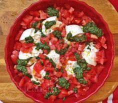 Super Easy Fresh Tomato Burrata Cheese Pesto Dip from @Jeanette | Jeanette's Healthy Living