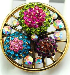 Multicolor Gold Ring/Cocktail Ring/Aurora Borealis/Rhinestone/Gift For Her/Spring Jewelry/Adjustable/Under 20 USD