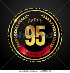95 golden anniversary logo with red ribbon, low poly design number - stock vector